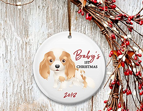 (New Dog mom Christmas ornament, Baby's 1st Christmas, Cocker Spaniel Springer King Charles puppy- Dated)