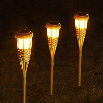 OOFWY LED de luz solar inteligente de control de bambú antorcha jardín luces, 3PCS: Amazon.es: Iluminación