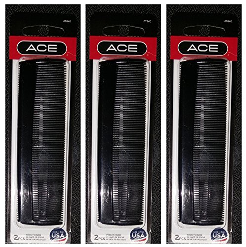 """Ace 5"""" Inch Pocket Comb Black 2 Count Pack of 3 = 6 Combs Pe"""