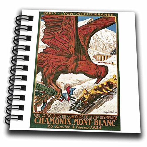 3dRose db_126031_3 Vintage Winter Olympics 1924 Chamonix Mont-Blanc Travel Poster Mini Notepad, 4 by 4