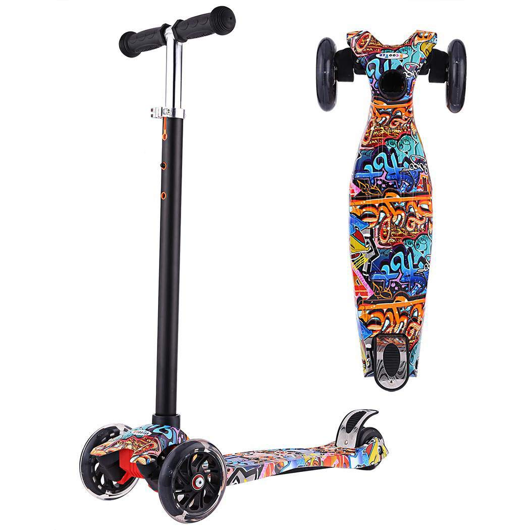 YUEBO Kick Scooter for Toddlers & Kids/Non-Batteries LED Light Up Scooter/ 3 Wheels Height Adjustable Scooter/Grils Boys Scooter Suitable for Children from 2-12 Years Old (Red)