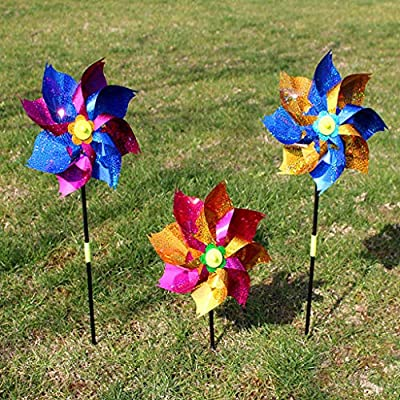 SimpleLif Windmill Kid Toys,Wind Spinner Glitter Glow Windmill Lawn Yard Garden Ornaments Colorful,Children Toys Gifts(Pack of 2: Home & Kitchen