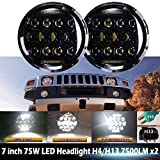 7 Inch For AM General Hummer LED Round Headlights Hi/Lo Double Beam DRL Driving Lamp Replacement 75W 6000K H5024 5024 6012 6014 6015 H6017 H6024 2PCS