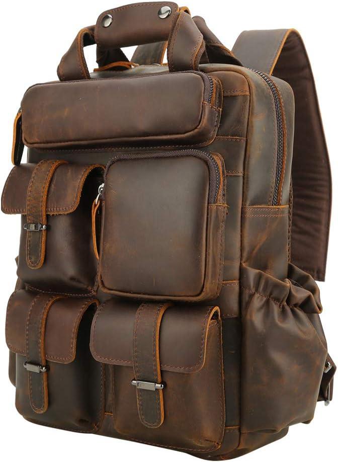 Men's Vintage Leather Travel Weekender Casual Outdoor School Versatile Case