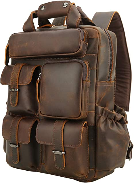 New Men/'s Retro Genuine Cow Leather Messenger Shoulder Bag Backpack Handbag M
