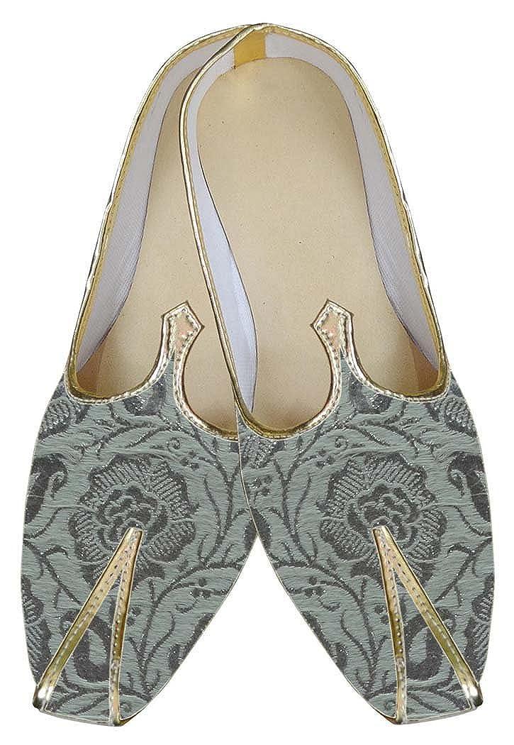 INMONARCH Brocado Plata Hombres Zapatos de Boda de Lujo MJ0036 40.5 EU