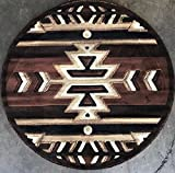 Southwest Native American Round Area Rug Brown & Black Americana Design 113 (4 Feet X 4 Feet Round)