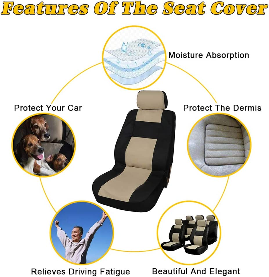 Black//Beige OCPTY Car Seat Cover Stretchy Universal Seat Cushion w//Headrest 100/% Breathable Automotive Accessories Durable Washable Mesh Cloth for Most Cars