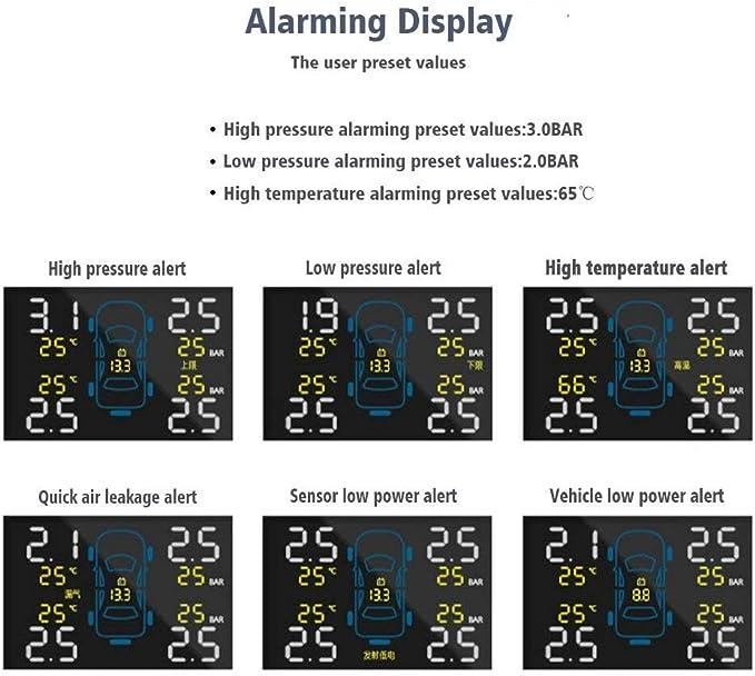ATpart Syst/èmes de Surveillance de la Pression des pneus solaires de Voiture TPMS Alimentation de lallume-Cigare Capteurs Anti-vol internes D/étecteur de Pression de Pneu de Voiture D/étection