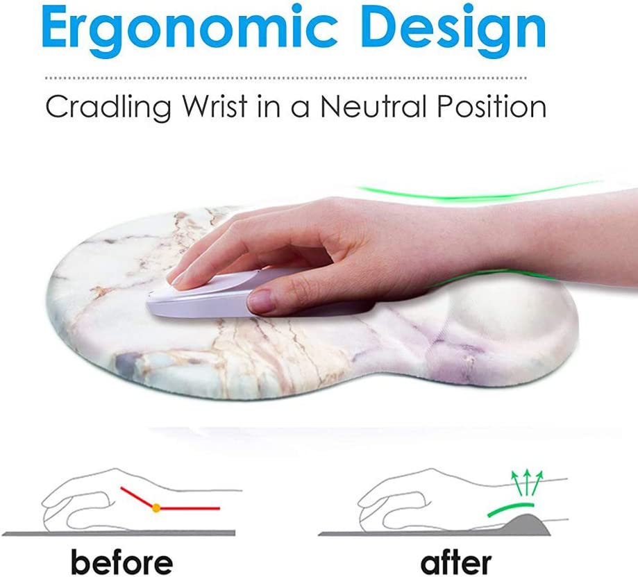 Ergonomic Designed Mouse Pad with Wrist Rest Hand Support Knocent Non Slip Rubber Round Wrist Mouse Pads Great for Gaming /& Work Wrist Apricot