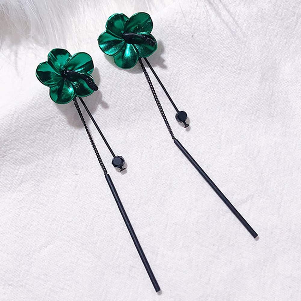 Babasee Drop Stud Earrings Dangle Long Tassel Chain Flowers Petal Ear Stud Jewelry