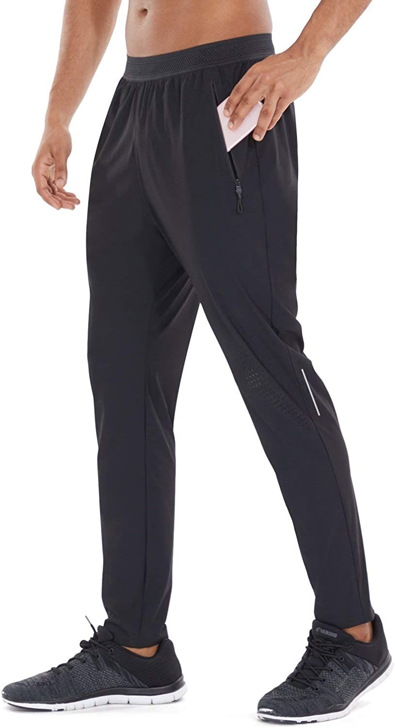 BALEAF EVO Men's Athletic Lightweight Joggers with Zipper Pockets Workout Cooling Quick Dry Tapered Running Pants Gym Sport