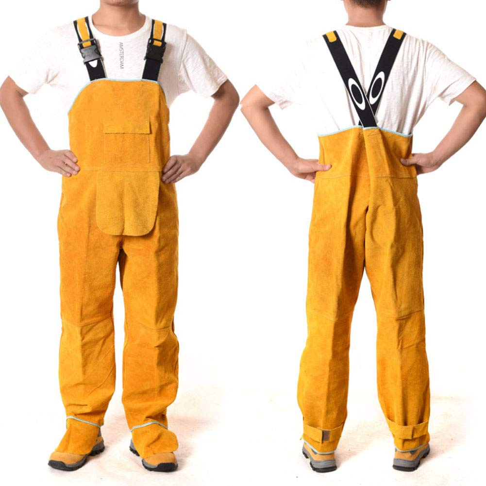 LAIABOR Welding Apron bib Jumpsuit Overalls Protective Foot Safety Apparel for Electrical Weld, Cutting, Casting, Lathe, Steel, Smelting Retardant wear Resistant,Yellow,XXL by LAIABOR (Image #1)