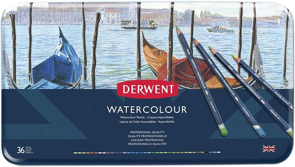 Derwent Colored Pencils, WaterColour, Water Color Pencils, Drawing, Art, Metal Tin, 36 Count (32885)