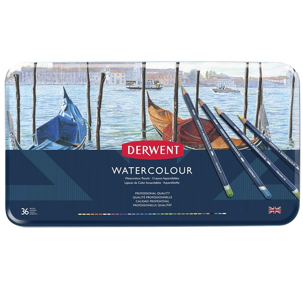 Derwent Colored Pencils, WaterColour, Water Color Pencils, Drawing, Art, Metal Tin, 36 Count (32885) by Derwent