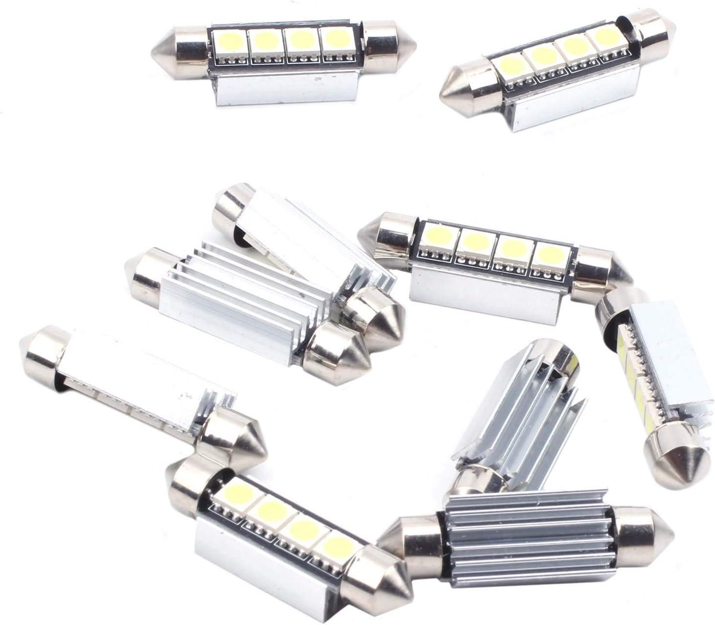 R 10x 42MM Navette 5050 4 SMD LED Ampoule Voiture Lampe Canbus ANTI SANS ERREUR ODB Feston Blanc SODIAL