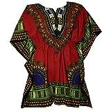 Womens Dashiki Dress Mini Cotton Shirt Elastic Waist Traditional wear Bright Colors