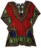 Decoraapparel Womens Dashiki Dress Mini Cotton Shirt Elastic Waist Traditional wear Bright Colors Review