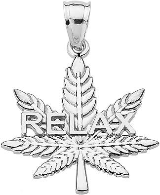 "Charm 18/"" Italian Box Chain Sterling Silver Pot Leaf Pendant"