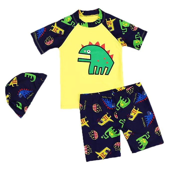 d468e3928 Niños Traje de baño Buceo Surf Manga Corta Camiseta + Swim Shorts + Gorra  de Ducha Protección Solar Set  Amazon.es  Ropa y accesorios