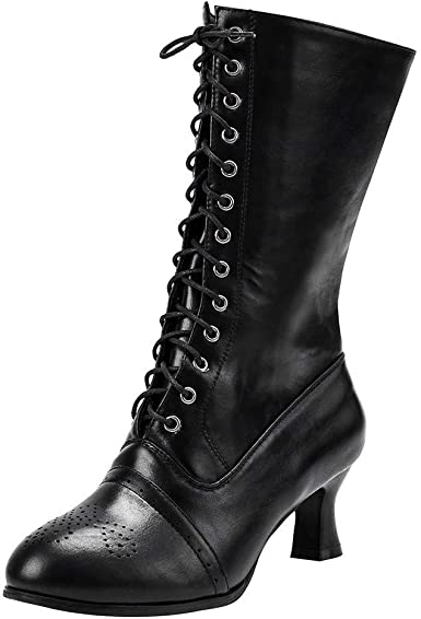 Lace up Vintage Victorian Gothic Boots