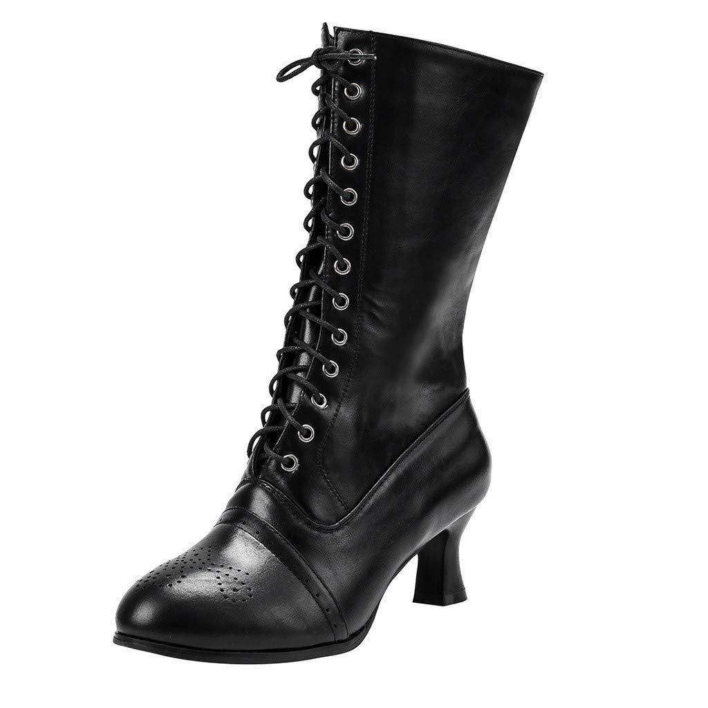 BIKETAFUWY Mid-Calf Boots,Women Pointed Toe High Heel Pumps Knee High Boot Lace-up Party Shoes Western Booties Black by BIKETAFUWY