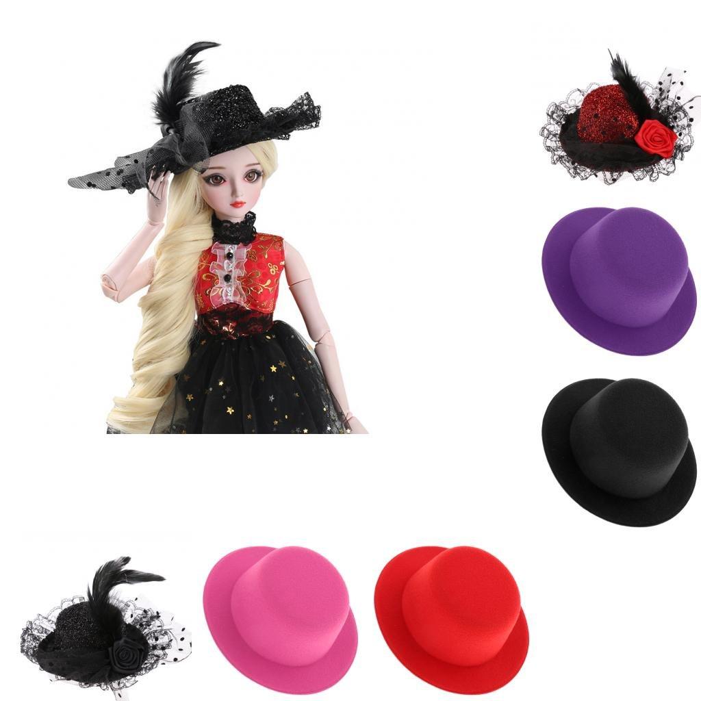 MagiDeal 1//3 BJD Felt Top Hat Elegant Round Bowler Cap for SD LUTS YOSD Dollfie AS DZ Doll Dress Up Costume Black