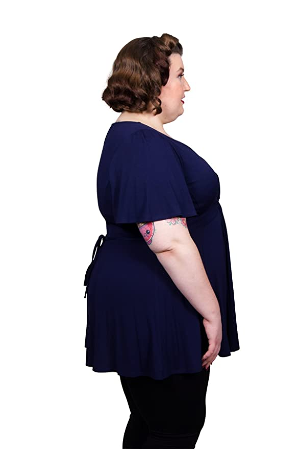 Scarlett & Jo Plus Size Knot Front Crepe Tunic Tops Curve Fashion (32, Navy Blue): Amazon.co.uk: Clothing
