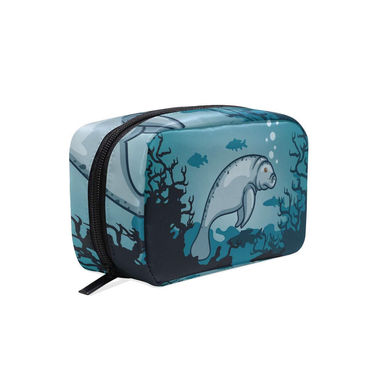 357431a5fb22 Amazon.com : HELVOON Manatee Ocean Sea Underwater Cosmetic Bag ...