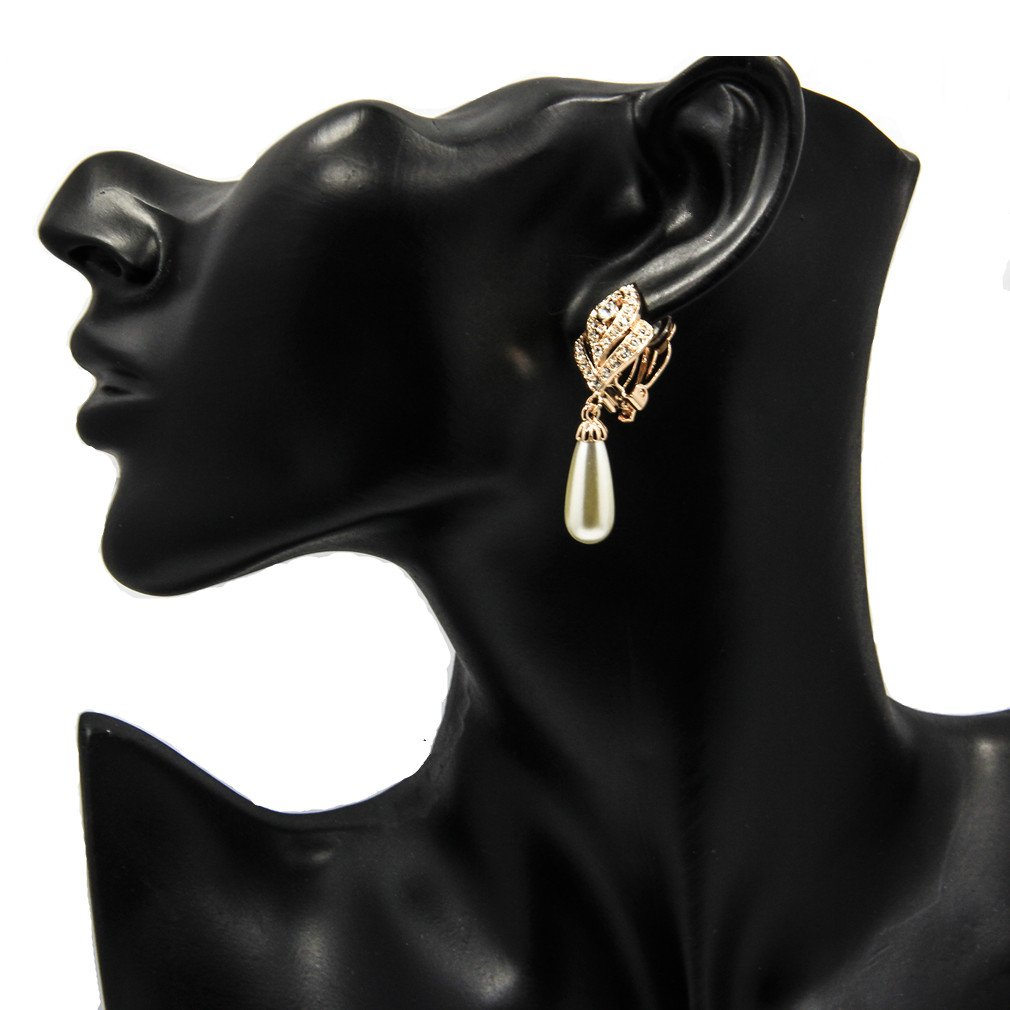 Clip On Pearl Dangle Earrings for Women, 18K Gold Plated , Art Deco Vintage Wedding Style by cckiise (Image #3)