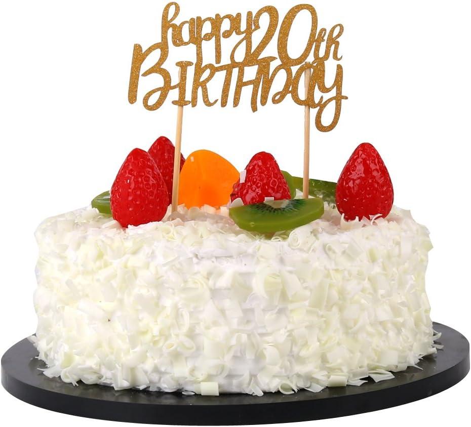 Stupendous Amazon Com Sunny Zx Happy 20Th Birthday Cake Topper Birthday Funny Birthday Cards Online Inifodamsfinfo