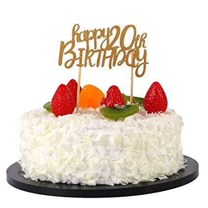 Amazon Com Sunny Zx Happy 20th Birthday Cake Topper Birthday Party