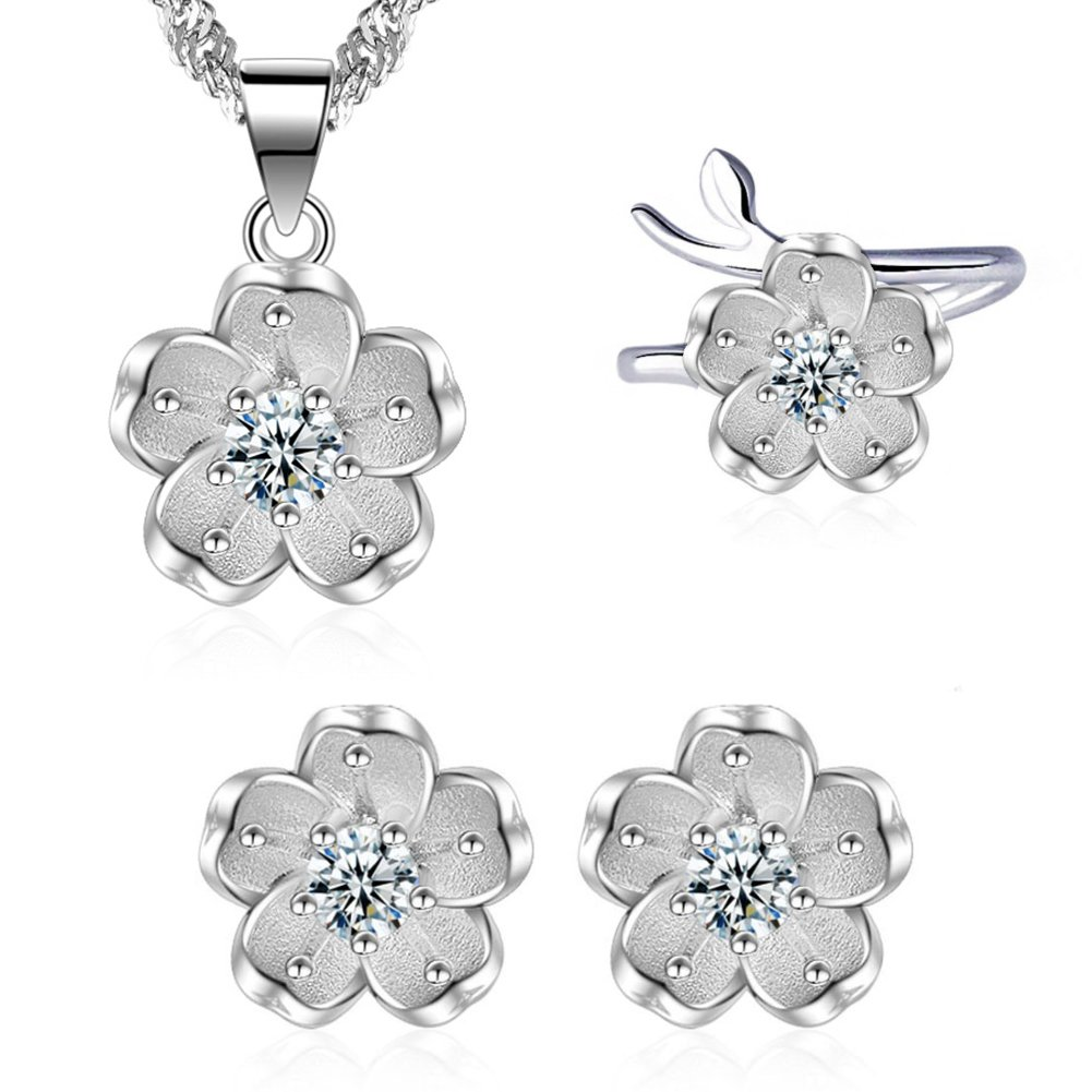 I'S ISAACSONG 925 Sterling Silver SAKURA Flower Charm Cubic Zirconia Crystal Pendant Necklace and Earring Jewelry Set for Women and Girl (Pure White Cherry Flower Set)
