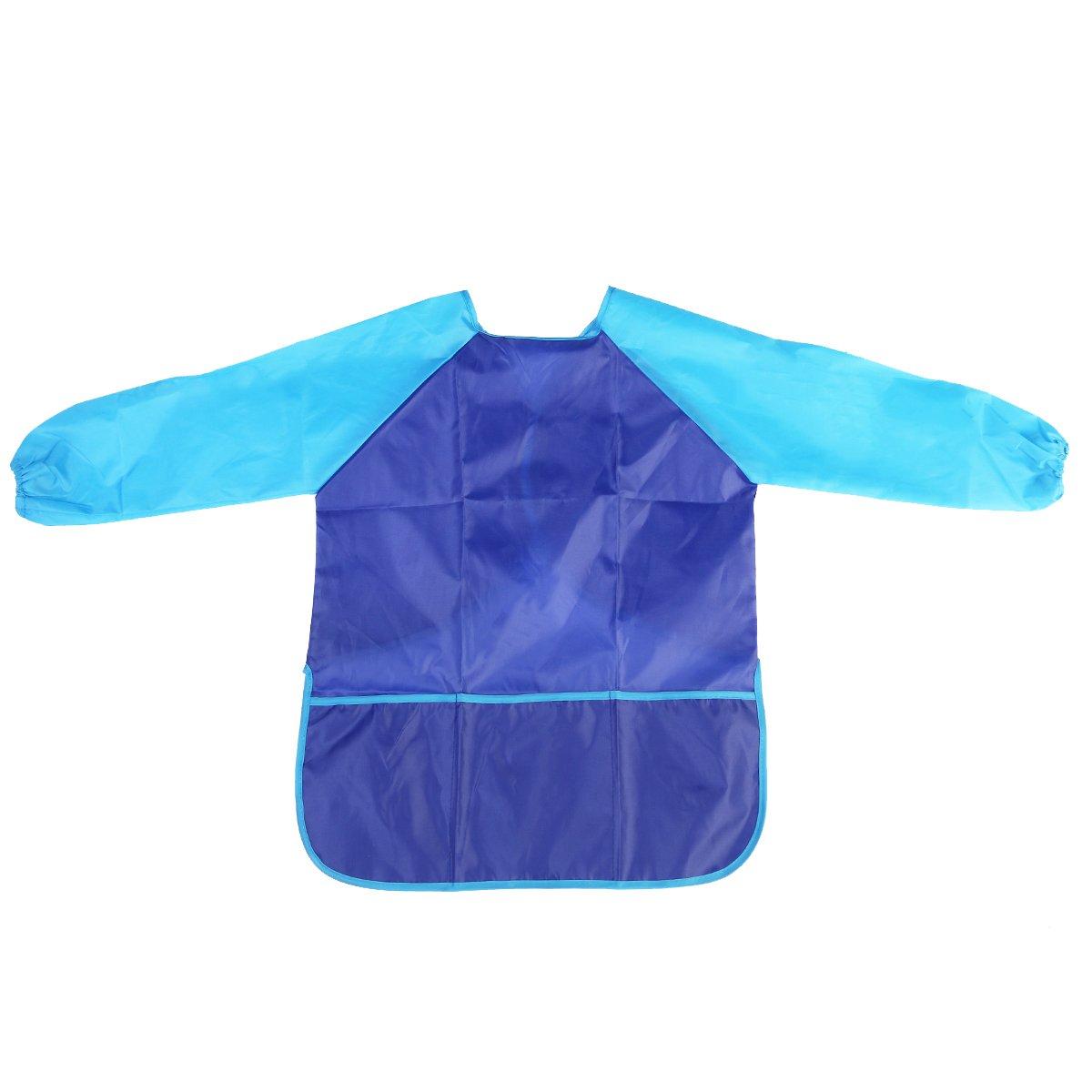 Wasserdichte Malschürze für Kinder von Nuolux mit Taschen und langen Ärmeln, Farbe: blau AS shown in the image