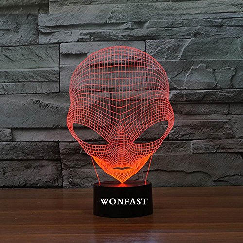 WONFAST 3D Lamp USB Power 7 Colors Amazing Optical Illusion 3D Grow LED Lamp Alien Shapes Children Bedroom Night Light (Amazing 3d Illusions)