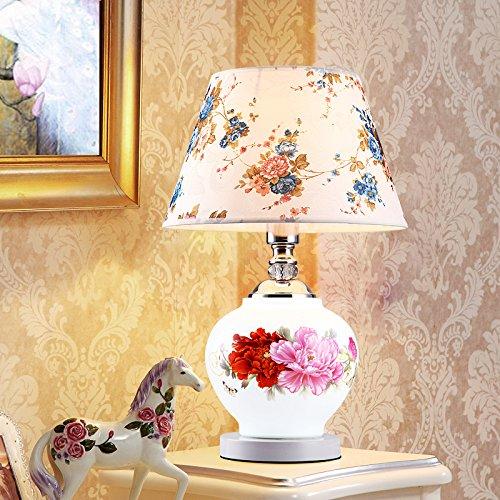 YFF@ILU Keramiklampen warmen Nachttischlampe Stoff modernes Wohnzimmer Studie Schlafzimmer lampe Hochzeit, Pfingstrose