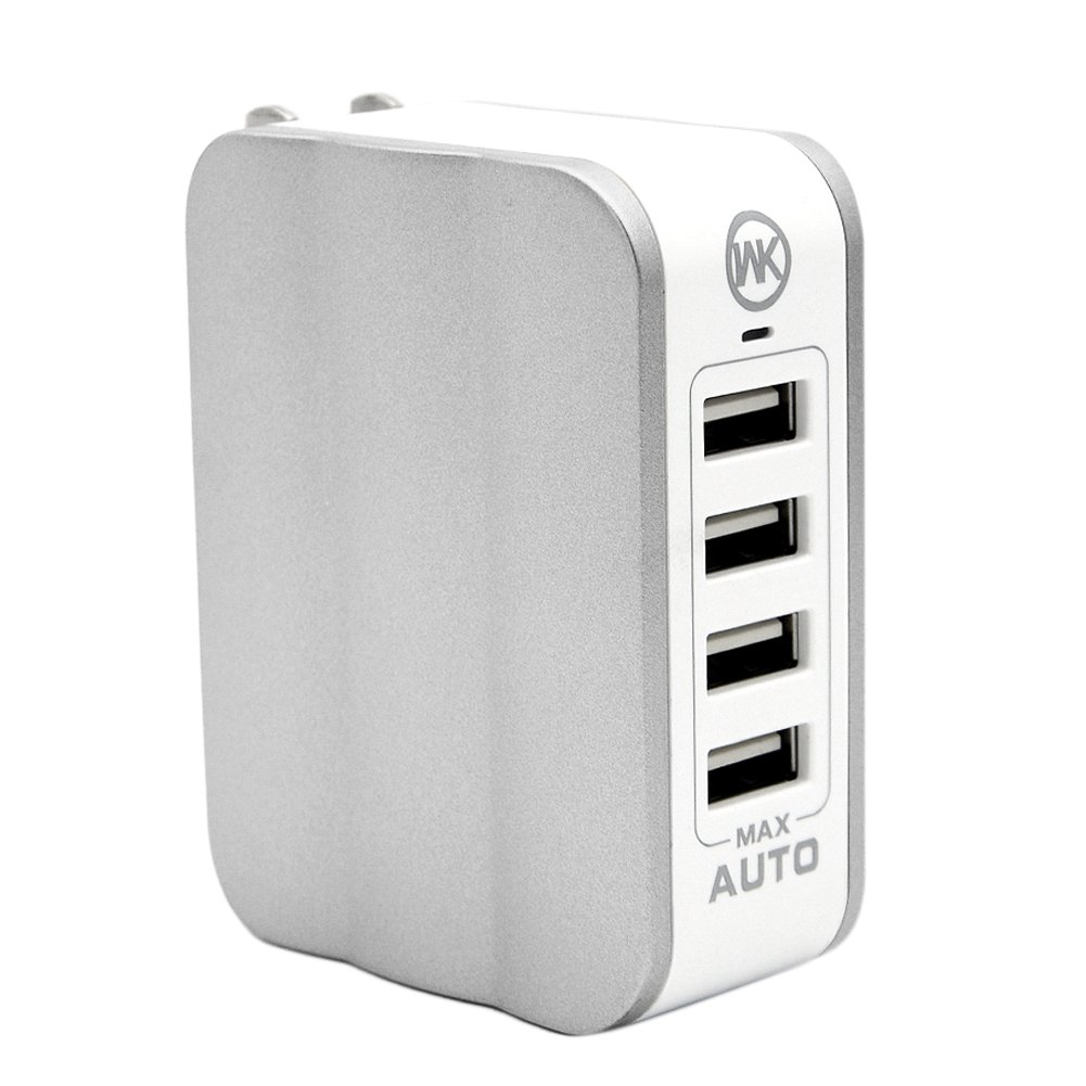 4-Port USB Wall Charger with Folding Plug and Smart Technology Car Charger Adapter For Travel iPhone 7 Plus 6 5S iPad Samsung Galaxy S6 Edge Tablet and Android Devices by Elekmall (Silver)