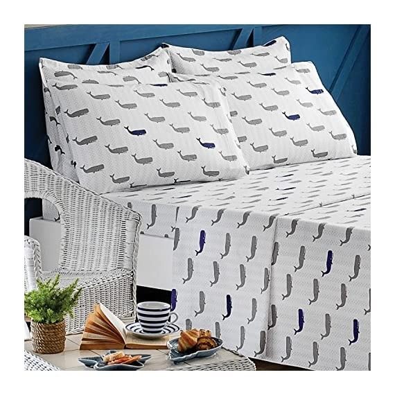 Brielle 100-Percent Cotton Flannel 6 Piece Sheet Set, King, Whale - King 6 piece sheet set includes flat sheet, fitted sheet, 2 pillow cases and 2 shams 108-By-102 inch flat sheet, 78-by-80 inch fitted sheet, 20-by-40 inch king pillow cases, 20-by-36 inch king sham Fitted sheet fits up to 15-inch mattresses; 4-inch hem on flat sheet and pillowcases - sheet-sets, bedroom-sheets-comforters, bedroom - 61Ton2nlYiL. SS570  -
