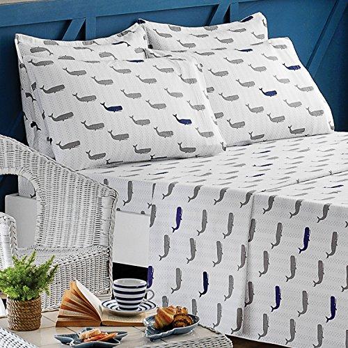 Brielle 100-Percent Cotton Flannel 6 Piece Sheet Set, Queen, (Whale Sheets)