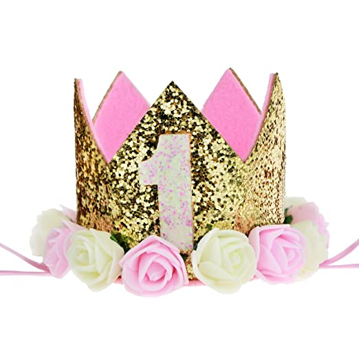 Baby Princess Tiara Crown Aiernuo Girls Boys First Birthday Hat Sparkle Gold Flower Style