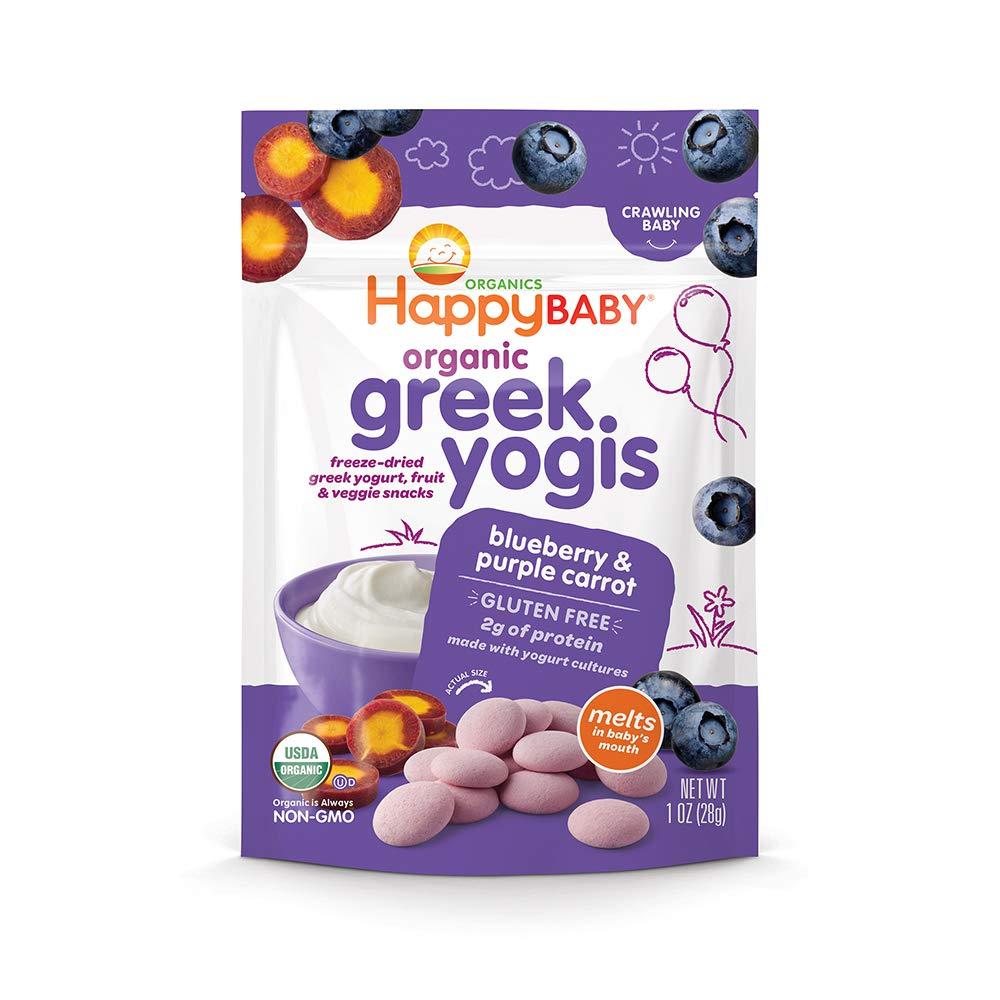 Happy Yogis Greek Yogurt Snacks, Organic Blueberry and Purple Carrot, 1 Ounce by Happy Baby