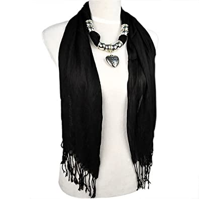 Amazon allydrew heart pendant necklace scarf pendant scarf allydrew heart pendant necklace scarf pendant scarf black aloadofball Choice Image