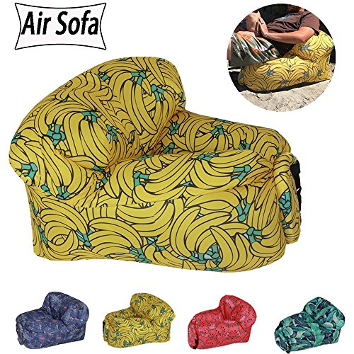 Outdoor Lounger Air Sofa/Chairs (20 Seconds Fast Inflated)Light and Easy to Carry -Prefect for Camping,Travel,Picnic,Pool Sleeping Inflatable Bag Bed (With Waterproof Carrying Bag ) (banana) (Banana Chair Lounge)