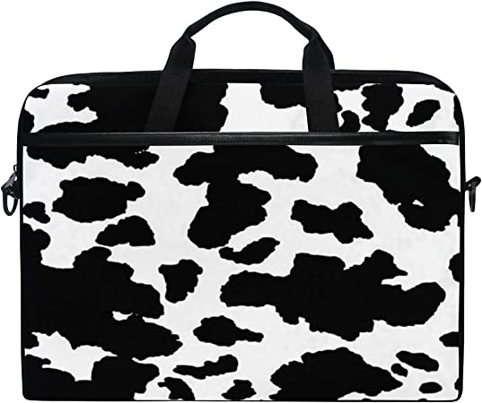 HELVOON Cute Animal Cow Laptop Shoulder Messenger Bag Computer Briefcase Business Notebook Sleeve Cover Carrying Handle Bag for 14 inch to 15.6 inch