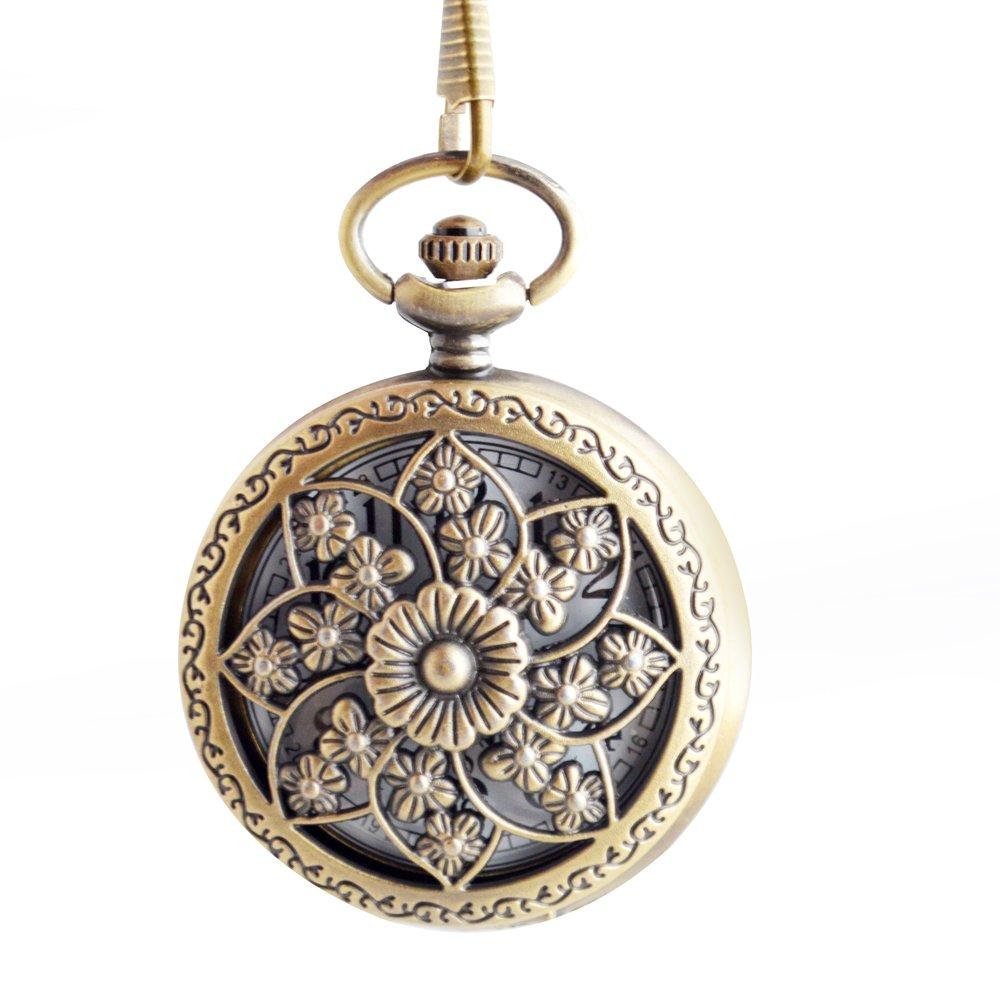 BoShiYa Vintage Arabic Dial up Quartz Pocket Watch Analog Modern Sun Half Hunter Steel Case with Chain for Women