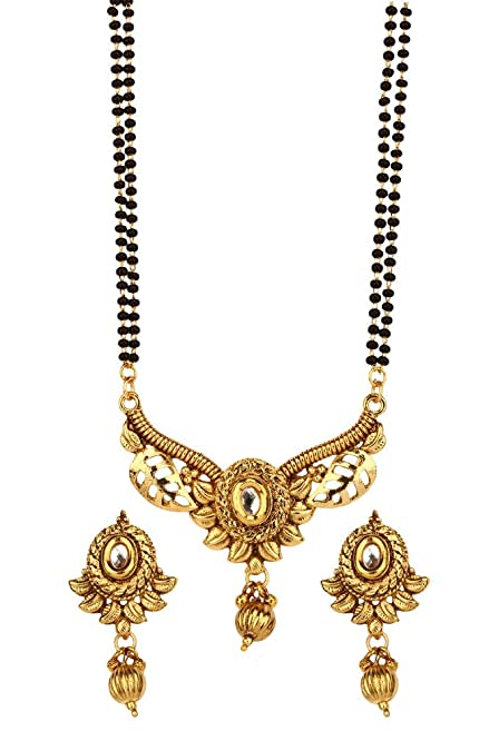 40bfa6646 Amazon.com: Bindhani Indian Bollywood Bridal Wedding Gold Plated  Mangalsutra Pendent Necklace Jewelry Set for Women: Jewelry