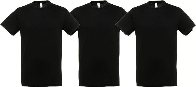 MARNAULA Pack 3 Camisetas Negras 100% Algodon Unisex: Amazon.es ...