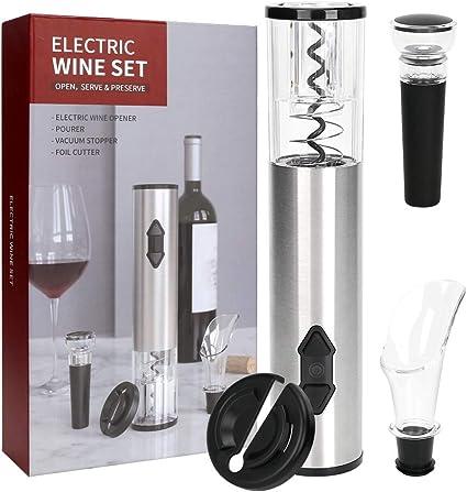 Flauno Cavatappi elettrico senza fili apribottiglie ricaricabile confezione regalo professionale tappo di vino in silicone con tagliacapsule automatico versatore di vino
