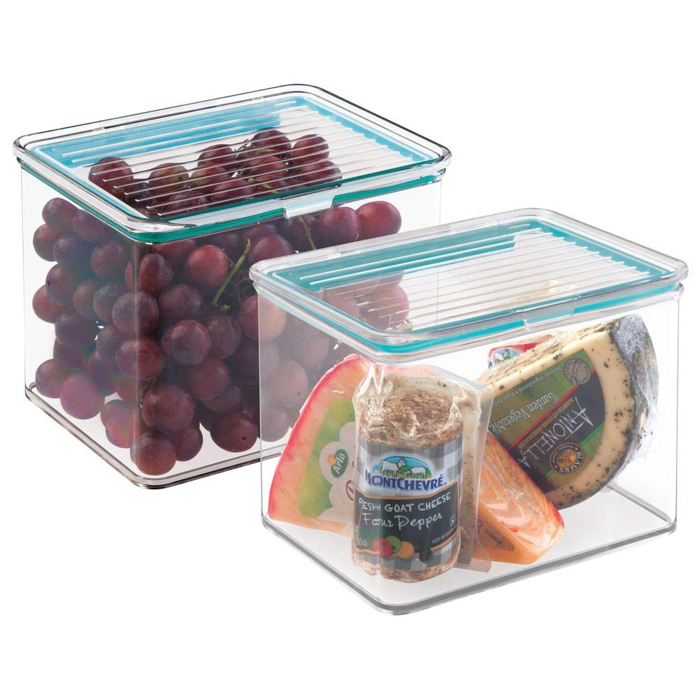 mDesign Airtight Stackable Kitchen Pantry Cabinet Food Storage Container - Attached Hinged Lid - Compact Bin for Pantry, Refrigerator, Freezer - BPA Free, Food Safe - Holds 2 Quarts - 2 Pack - Clear