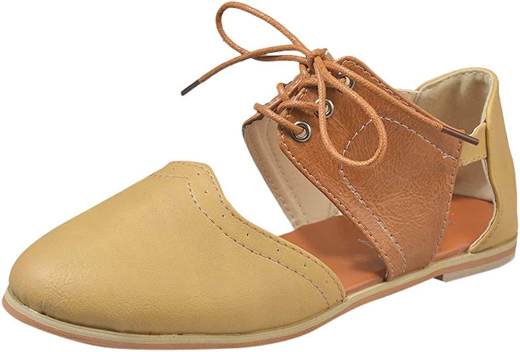 Naladoo Womens Lace-Up Sandals Outdoor Mixed Color Flat Single Shoes Rome Shoes
